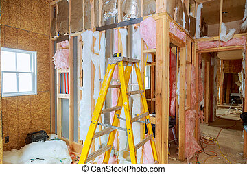 hogar, nuevo, mineral, lana, calor, madera, aislamiento, casa