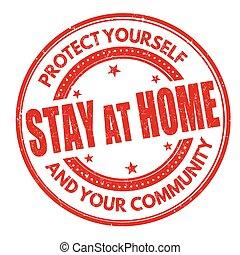hogar, o, señal, estampilla, estancia