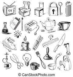 hogar, objetos de la casa, colección