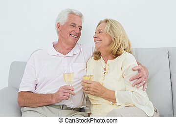 hogar, pareja, champaña, 3º edad, flautas