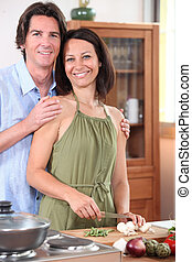 hogar, pareja, cocina
