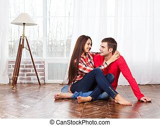 hogar, pareja, relajante, piso