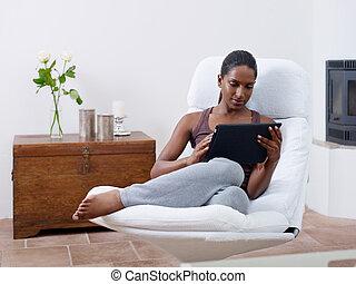 hogar, pc, mujer, tableta, utilizar