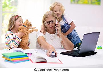 hogar, quarantine., madre, trabajando, kids.