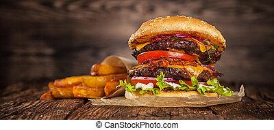 hogar, queso, hecho, hamburguesa, lechuga
