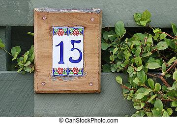 hogar, quince, número, embaldosado, señal