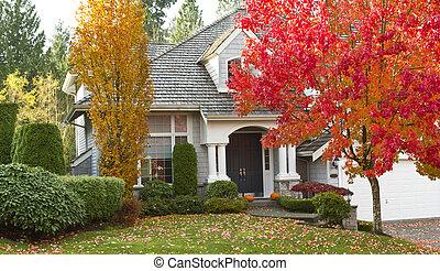 hogar, residencial, durante, estación, otoño