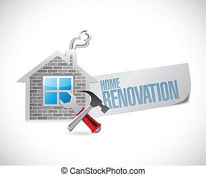 hogar, símbolo, diseño, renovación, ilustración