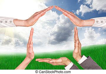 hogar, símbolo, mano
