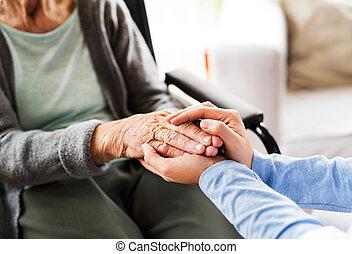 hogar, salud, 3º edad, visitante, mujer, durante, ...
