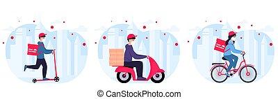 hogar, service., entregar, protector, bienes, bicicleta, ...