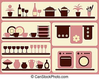 hogar, set., objetos, mercancía, cocina