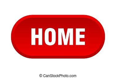hogar, signo., button., redondeado, rojo