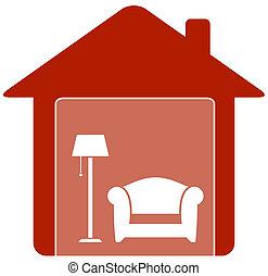 hogar, sillón, lámpara, piso