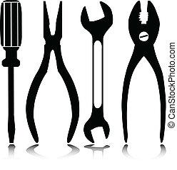 hogar, siluetas, vector, herramientas