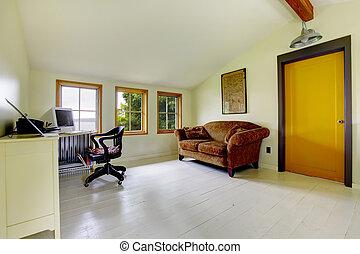 hogar, simplistic, brillante, oficina, interior.