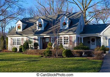 hogar suburbano, en, rebaba, caballete, illinois