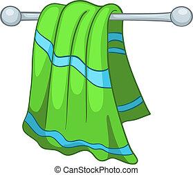 hogar, toalla, caricatura, cocina