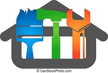 hogar, vector, reparación