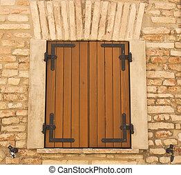 hogar, ventana, madera, obturadores, cerrado