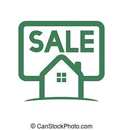 hogar, verde, venta, logotipo