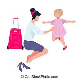 hogar, viaje, vector, niño, vuelto, mujer, abrazar