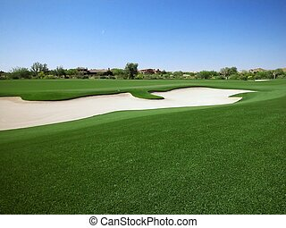 hogares, campo de golf, trampa arena, arcón, o