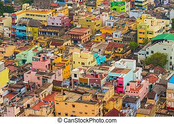 hogares, colorido, ciudad, indio, trichy, tamil nadu