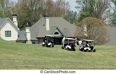 hogares, en, campo de golf