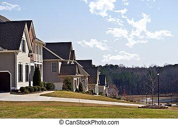 hogares, en, un, vecindad