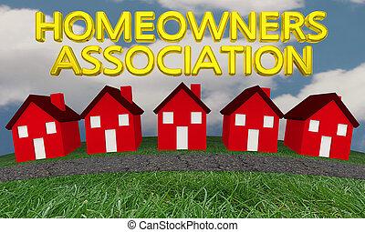 hogares, grupo, propietarios, ilustración, casas, asociación, 3d