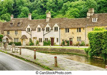 hogares, piedra, inglaterra, wiltshire, aldea, castillo ...