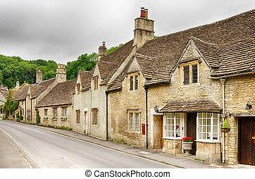 hogares, piedra, inglaterra, wiltshire, calles, aldea, ...