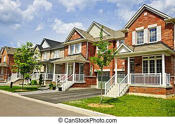 hogares, suburbano, fila, nuevo