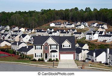 hogares, vecindad, midsize, el pasar por alto