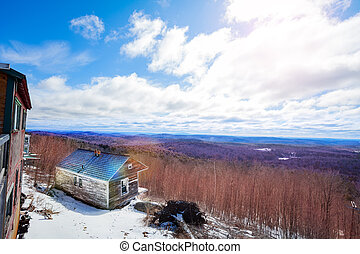 Hogback Mountain panorama view in Molly Stark State Park at spring Brattleboro, Vermont, USA
