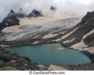 hoge bergen, met, meer