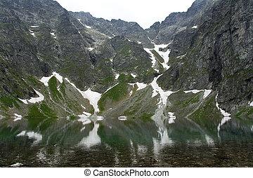 hoge bergen, op, meer