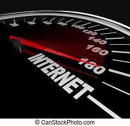 hoge snelheid, internet, -, het meten, web, verkeer, of,...