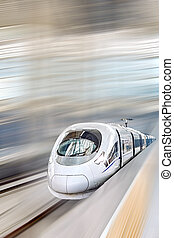 hoge snelheid, station., trein, spoorwegen