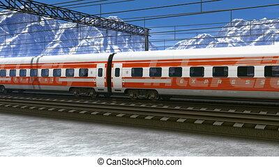 hoge snelheid trein, in, bergen