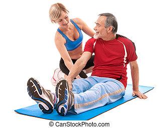 hogere mens, doen, fitness oefening