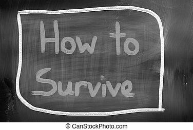 hogyan, fordíts, túlél, fogalom