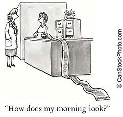 hogyan, nő, az enyém, néz, reggel