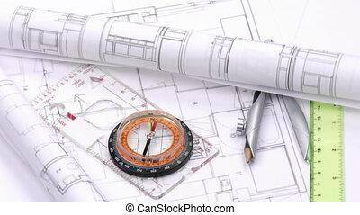hohe ansicht, von, pläne, und, design, werkzeuge, drehung