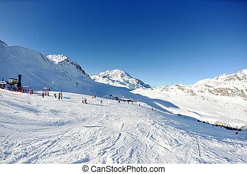 hohe berge, unter, schnee, in, der, winter