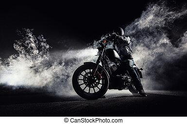 hohe energie, motorrad, zerhacker, mit, mann, reiter, nacht