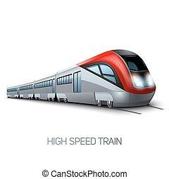 hohe geschwindigkeit, modern, zug