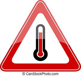 hohe temperatur, vektor, zeichen