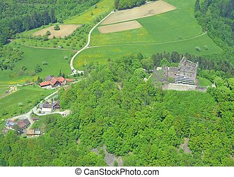 aerial view of fthe Hohengeroldseck Castle ruins on Schoenberg in the Black Forest, Baden Germany
